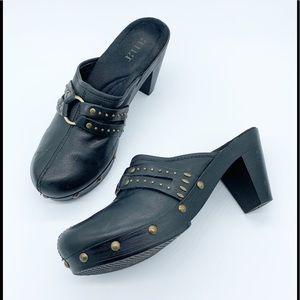 Black Leather Mule / Clog Shoes  Size 6 1/2 M